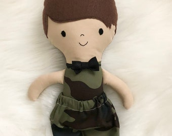 """Army 15"""" Tall Boy Doll Gifts for Boys. Customizable Dress Up Cloth Rag Doll. Gifts for Kids. Nursery Decor. Baby Boy Gifts."""