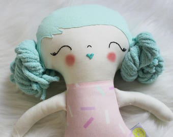 Design Your Own Plushie! Sweet Treats Polka Dots Teal Hair Girl Doll Plushie. Great for Easter Baskets and Birthday Dolls! Gifts for Girls.