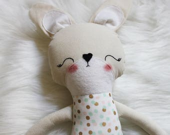 Great for Easter Baskets and Birthday Dolls! Sweet Treats Polka Dot Bunny Animal Plushie. Design Your Own Plushie! Gifts for Girls.