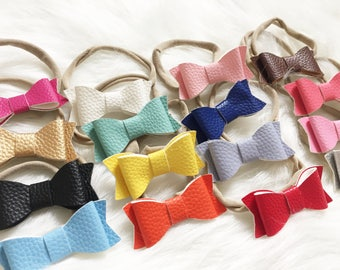 Sweet Treats Faux Leather Bow Headbands. Several Colors to Pick. Design Your Own Plushie!
