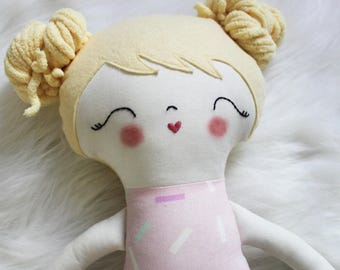Sweet Treats Sprinkles Girl Doll Plushie. Gifts for Girls. Great for Easter Baskets and Birthday Dolls! Design You Own Plushie!