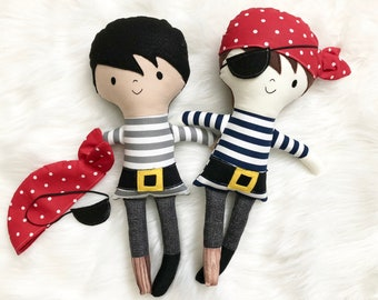 """Peg Leg Pirate 15"""" Tall Boy Doll Gifts for Boys. Customizable Dress Up Cloth Rag Doll. Gifts for Kids. Nursery Decor. Baby Boy Gifts."""
