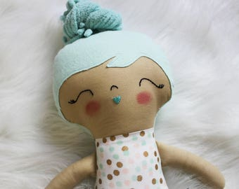 Sweet Treats Polka Dots Teal Hair Girl Doll Plushie. Great for Easter Baskets and Birthday Dolls! Gifts for Girls. Design Your Own Plushie!