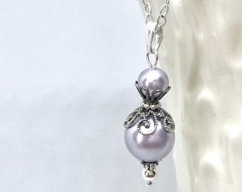 Bridesmaid Pendant, Bridesmade Gift, Bridal Party Jewelry, Pearl Pendant