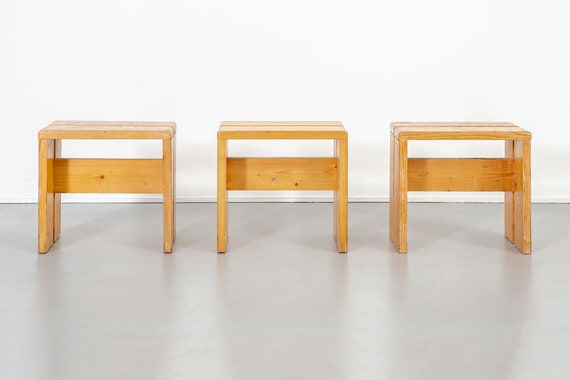 Fantastic Set Of Les Arcs Pine Stools By Charlotte Perriand Ocoug Best Dining Table And Chair Ideas Images Ocougorg