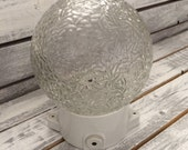 Vintage Industrial German wall lamp Ball quot brain quot porcelain glass