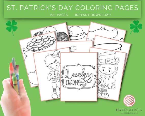 ST. PATRICKS DAY Coloring Pages  Instant Download  Shamrock