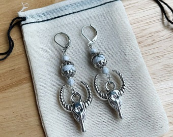 Howlite cow skull earrings - Dangle earrings