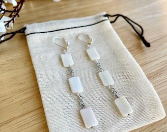 Mother of pearl dangle earrings - Drop earrings - Chain earrings