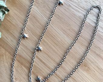 Silver stars mask chain - Glasses chain