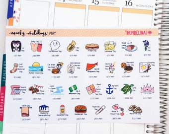 May 2018 Wacky Holidays Planner Stickers