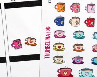 Tea and Coffee Planner Stickers for Erin Condren, Kikki K, Happy Planner and more (TP202)