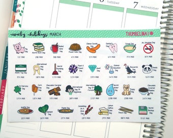 March 2018 Wacky Holidays Planner Stickers