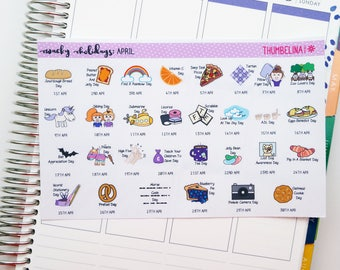 April 2018 Wacky Holidays Planner Stickers