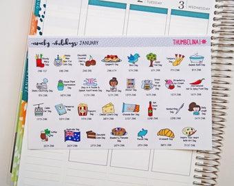 January 2018 Wacky Holidays Planner Stickers