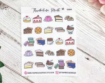 Dessert Food Planner Stickers | Decorative & Functional Planning | Sweat Treats | Dessert Stickers | Food Icons | Mini Icons | Icon Stickers