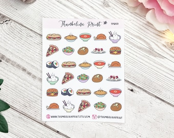 Dinner Food Planner Stickers | Decorative & Functional Planning | Food Stickers | Eating Stickers | Icon Stickers | Mini Icons