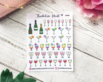 Drinks Planner Stickers  | Decorative & Functional Planning | Wine | Cocktails | Alcohol | Icon Stickers