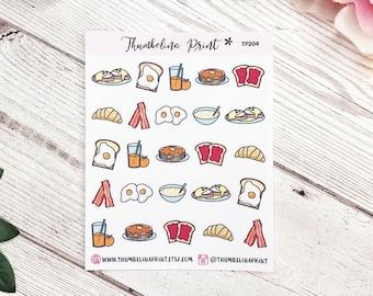 Breakfast Food Planner Stickers | Decorative & Functional Planning | Brunch Stickers | Food | Breakfast Stickers | Mini Stickers