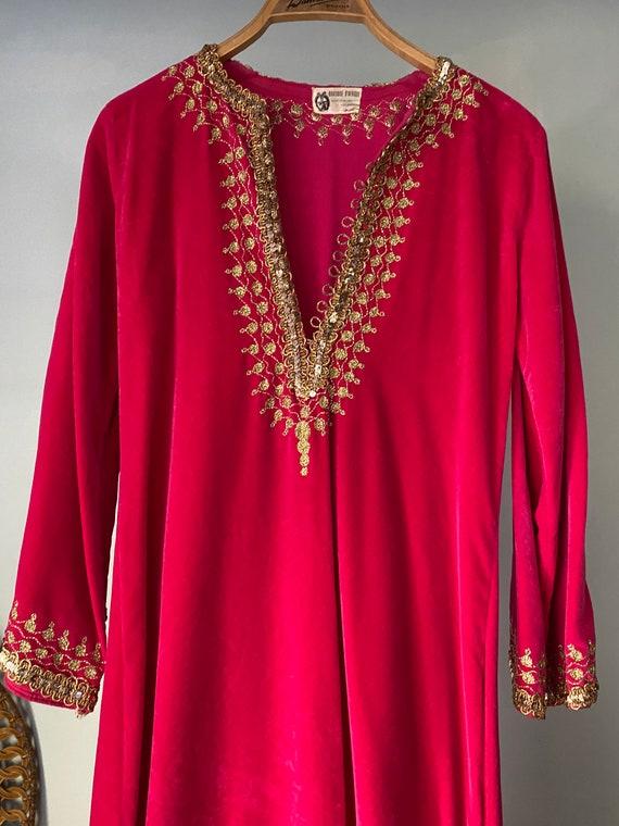 Vintage 60's Pink & Gold Velvet Moroccan Kaftan