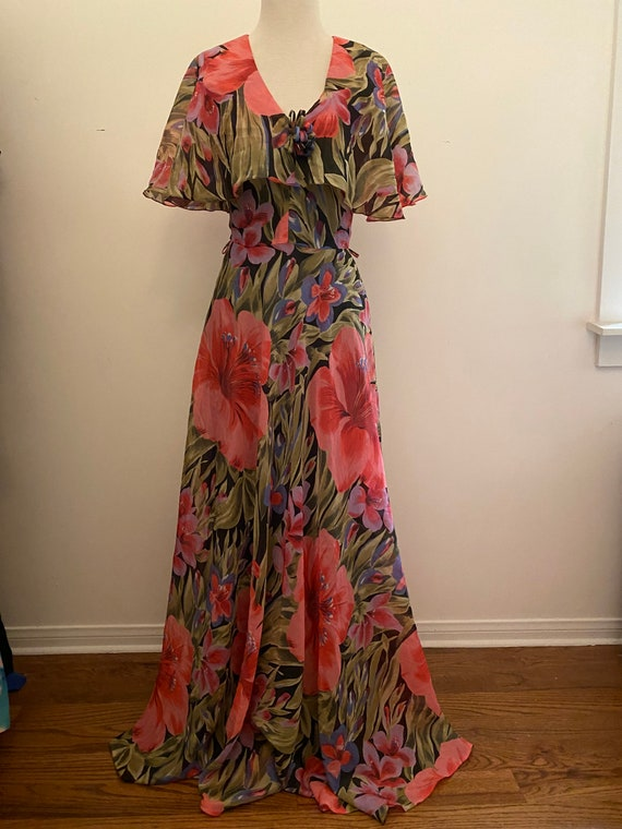70s Floral Chiffon Cape Dress