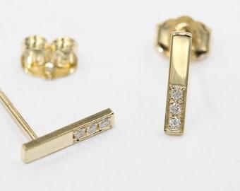14k solid gold studs diamond studs bar studs strip studs pave studs minimalist studs 1/10 carat studs real diamond studs