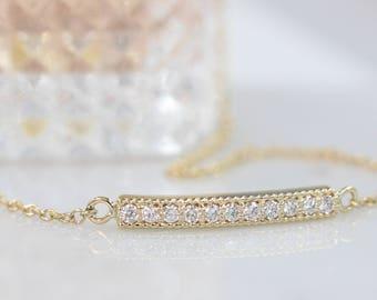 14k gold bracelet diamond bracelet diamond bar bracelet pave diamond bracelet real diamond bracelet