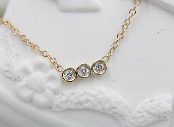 Bezel Diamond Necklace Trio Bezel Necklace Bezel Diamond Pendant Diamond Bezel  Necklace Simple Everyday Round Diamond Minimalist Jewelry 606ac8252