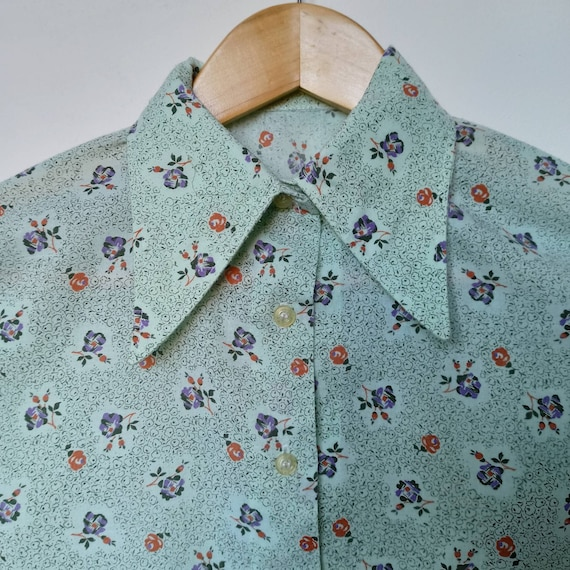 Vintage 1970s - Flowery blouse pointed collar pie