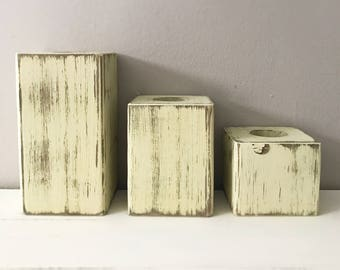 Set of 3 Wood Block Tealight Candle Holders Rustic Reclaimed Pallet Barn Wood Hand Painted Distressed Tea Light