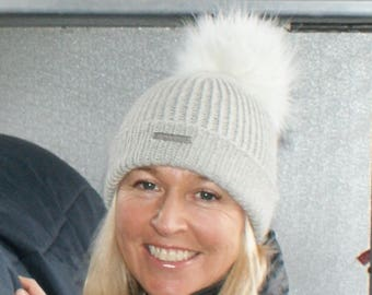 e3b5162e225af0 Alpaca Pom Pom hat, pure alpaca luxury ribbed hat by Willow Luxury ( one  size)