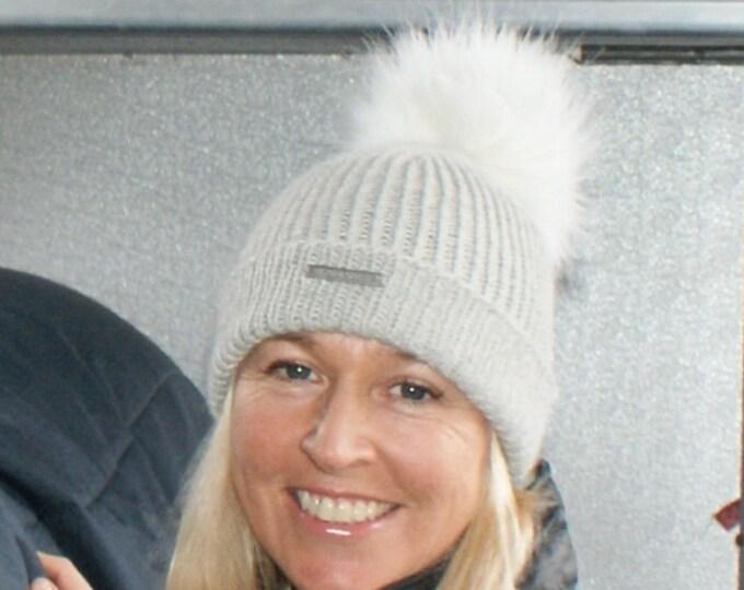 Alpaca Pom Pom hat, pure alpaca luxury ribbed hat by Willow Luxury ( one size)