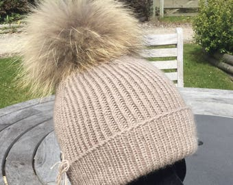Cashmere Pom Pom hat, pure cashmere luxury ribbed hat by Willow Luxury ( one size)