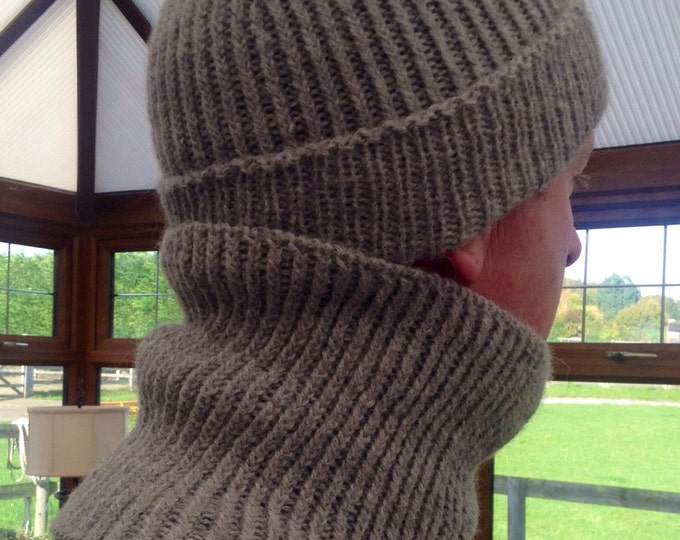Gents ribbed mid grey pure alpaca snood / neck warmer by Willow Luxury