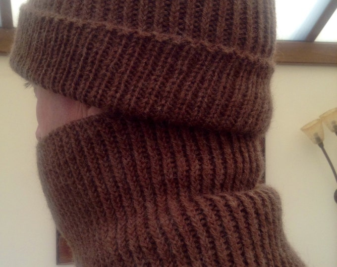 Gents ribbed brown pure alpaca snood / neck warmer by Willow Luxury