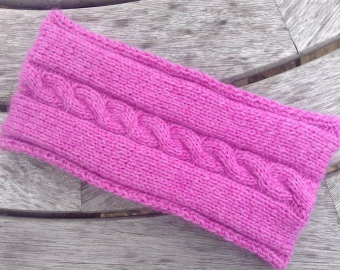 NEW - Ladies cerise pink pure cashmere headband / ear warmer by Willow Luxury ( one size)