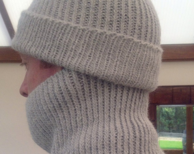 Gents ribbed light grey pure alpaca snood / neck warmer by Willow Luxury