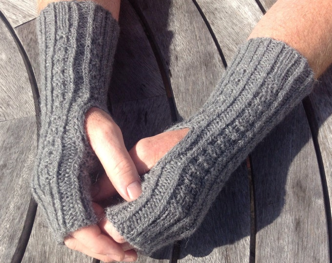 Men's pure alpaca grey fingerless glove / wrist warmer (one size ) by Willow Luxury