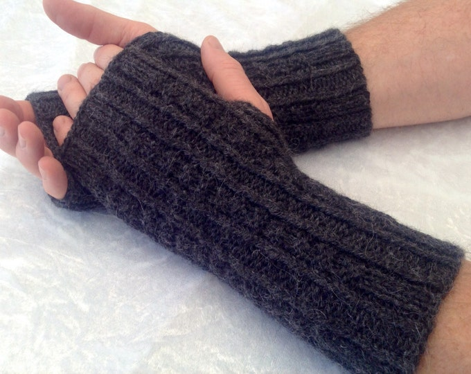 Men's pure alpaca charcoal fingerless glove / wrist warmer (one size ) by Willow Luxury