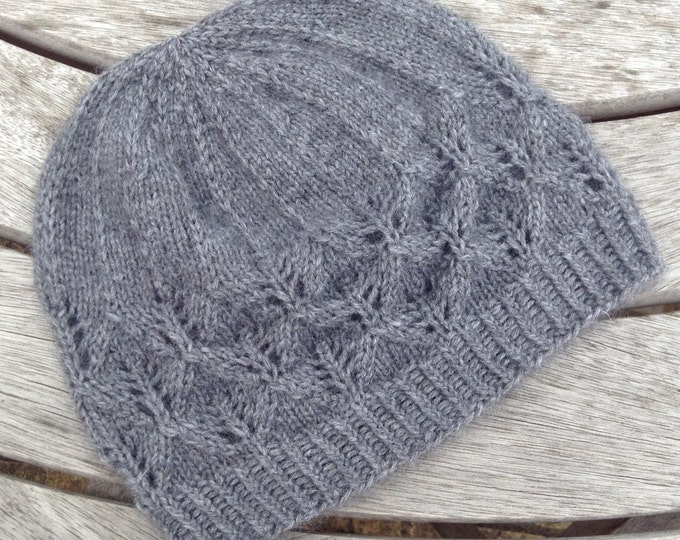 Pure cashmere dark grey beanie hat with lace detail by Willow Luxury ( one size)