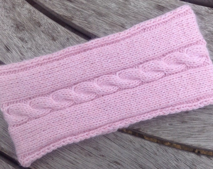 NEW - Ladies pale pink pure cashmere headband / ear warmer by Willow Luxury ( one size)