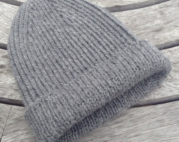 NEW COLOUR Gents pure alpaca reversible ribbed dark grey watch cap / hat by Willow Luxury