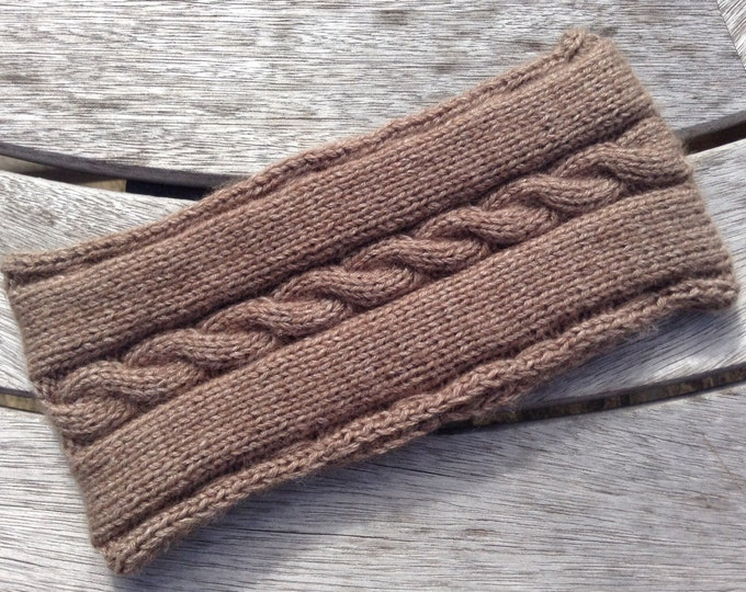 Ladies taupe pure cashmere headband / ear warmer by Willow Luxury ( one size)
