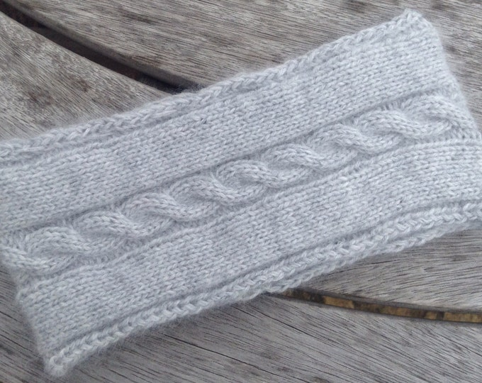 Ladies pale grey pure cashmere headband / ear warmer by Willow Luxury ( one size)