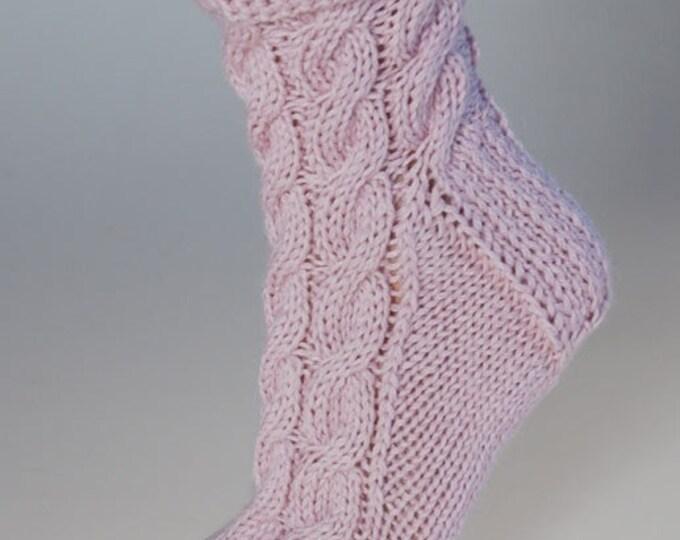 Ladies luxury pink alpaca & mulberry silk handmade cable bed socks by Willow Luxury