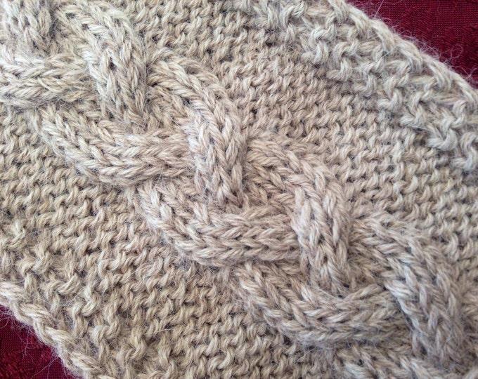 Pure alpaca sandy taupe headband / ear warmer by Willow Luxury (one size)