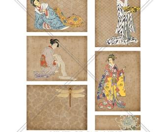 ef3e28dac4f Vintage Japanese Journal Cards - Japanese Journal Cards - Printable Journal  Cards - Junk Journal Cards - Vintage Japanese Kimono
