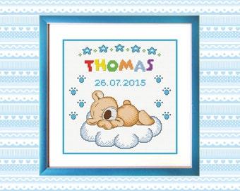 Buy 2 get 1 free Metric bear boy Cross Stitch Pattern PDF
