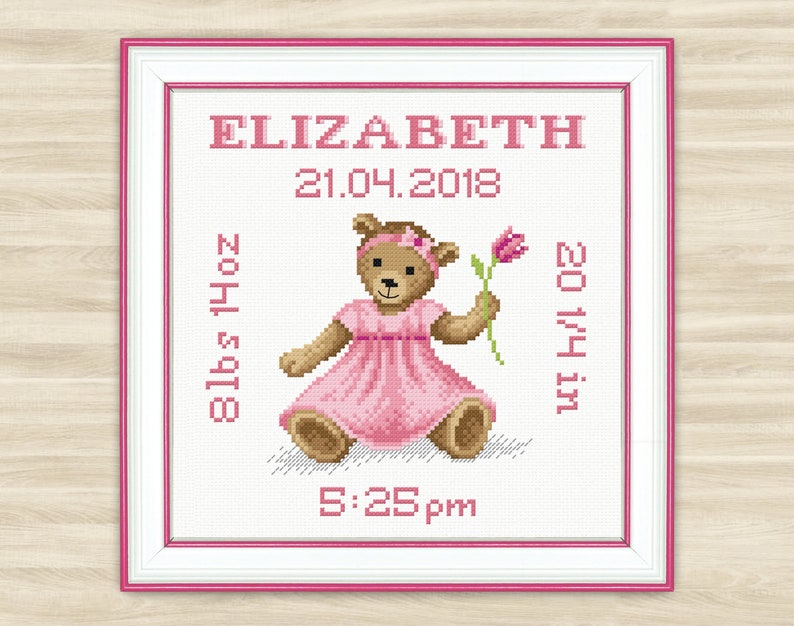 Buy 2 get 1 free Personalised bear girl Cross Stitch Pattern PDF Baby pink  birth sign new baby announcement Welcome baby newborn metric girl
