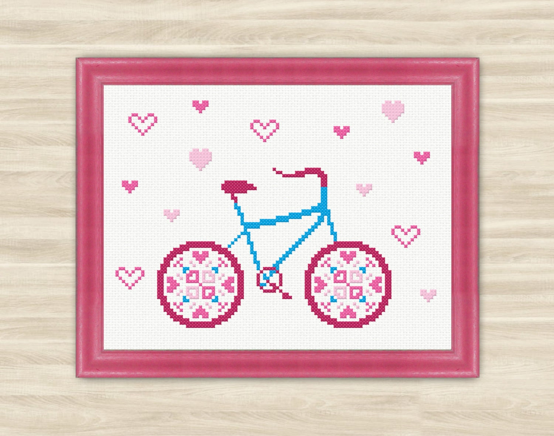 Buy 2 get 1 free Love bicycle Cross Stitch Pattern PDF | Etsy
